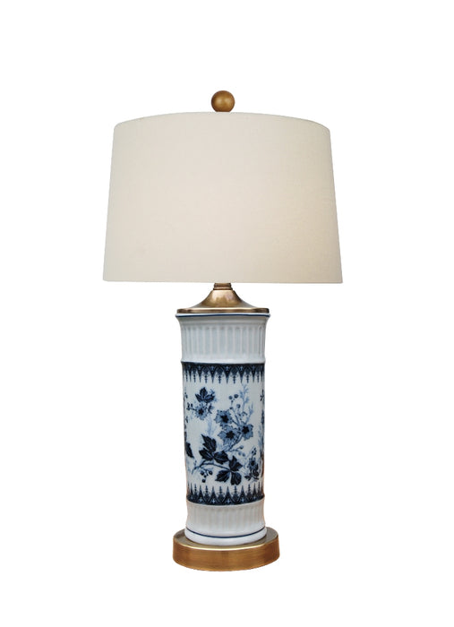 Dark Blue & White Porcelain Leafs Table Lamp