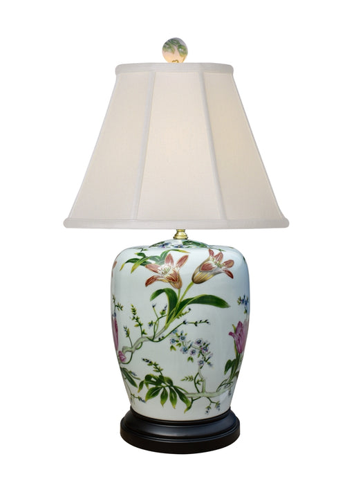Porcelain Lily-Melon Small Ginger Jar Table Lamp