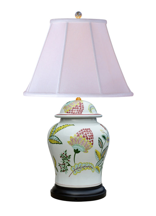 Porcelain Lotus Design Temple Jar Table Lamp