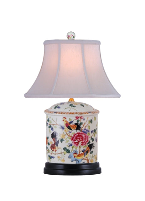 Porcelain Rooster Oval Jar Table Lamp