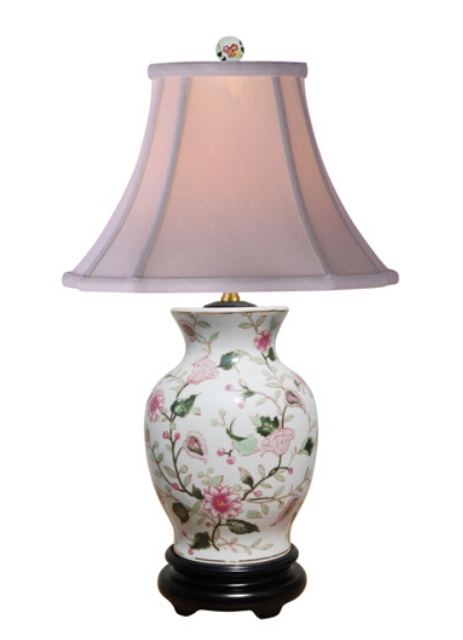 Porcelain Multi-Color Flower  Vase Lamp