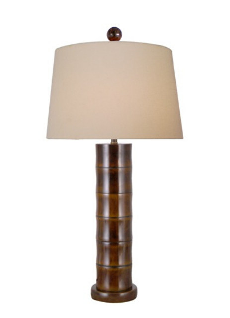 Jade Bamboo Table Lamp with Lien Drum Lampshade