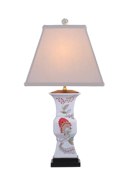 Square Floral Vase Porcelain Table Lamp
