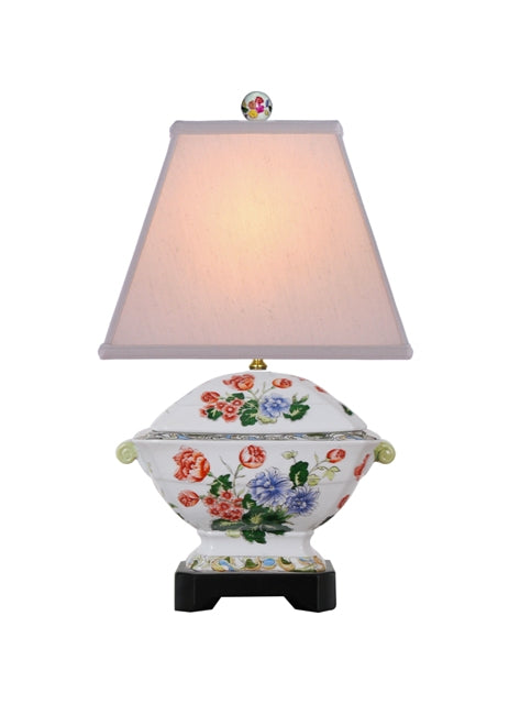 Porcelain Floral Tureen Lamp