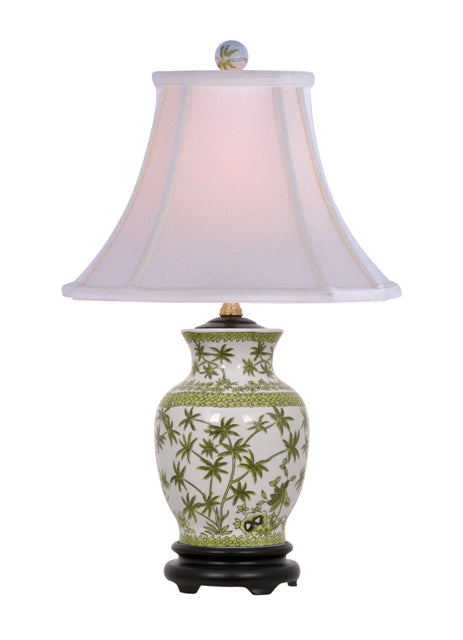 Porcelain Palm Tree Vase Table Lamp