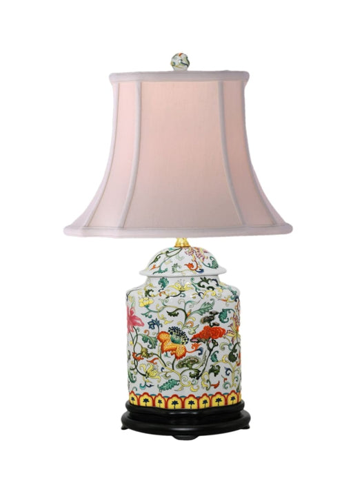 Porcelain Floral Scallops Jar Lamp Lighting