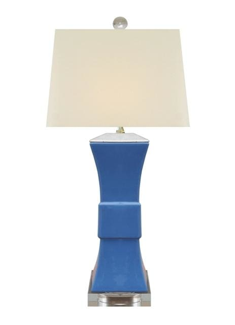 Porcelain Summer Blue Square Vase Lamp Lighting