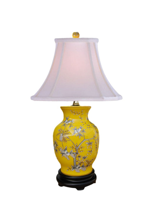 Porcelain Yellow Fruits Vase Table Lamp Lighting