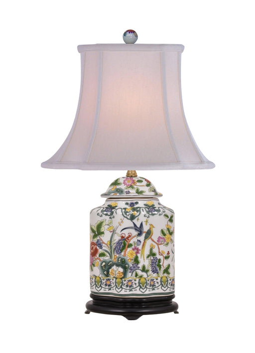 Porcelain Colorful Nature Scalloped Tea Jar Lamp