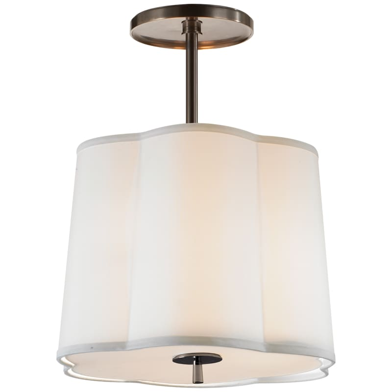 Simple Scallop Pendant With Silk Shade Lighting