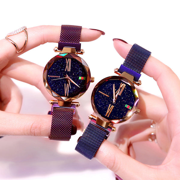 Luxury Rose Gold Women Watch Magnet Starry sky Wrist Watch For Ladies Female Wristwatch Waterproof