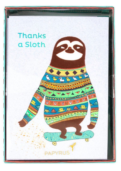 Skater Sloth Boxed Thank You Notes (Set of 12)