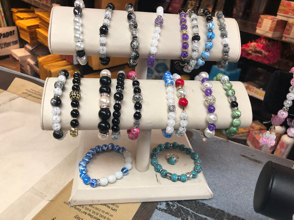 Bracelets and Bead sets with Precious Stones, Glass, Crystals, Crowns, Semi Precious Stones, Lava Stone, multicolor and multi dimensional balancing beads with various accents