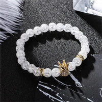 Beads White Sparkle Coronado Crown Jewels Gold or Silver Elastic Bracelets