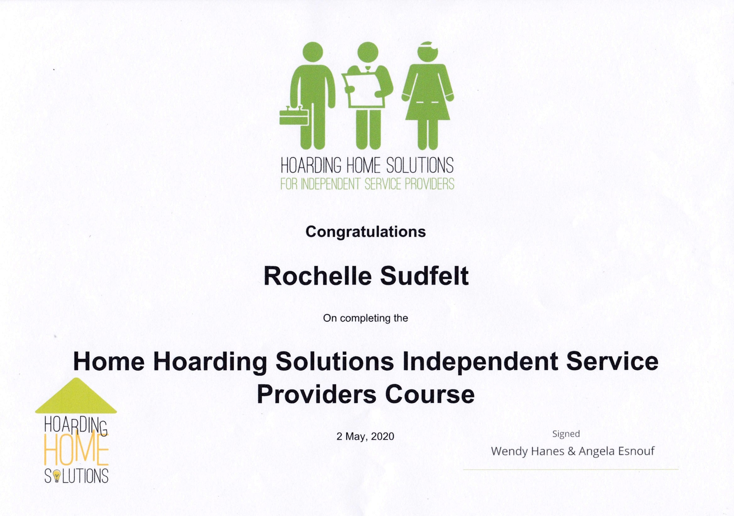 hoarding home solutions certificate