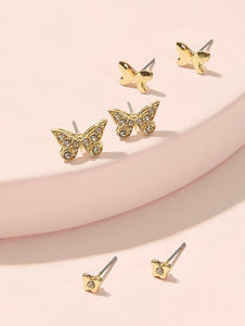 Butterfly Stud Earrings Set