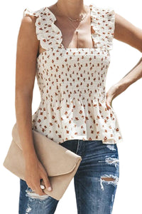 Floral Ruched Top (White)