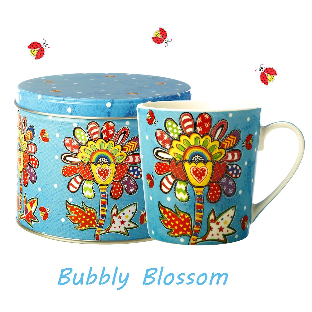 Bubbly Blossom Mug in a Tin
