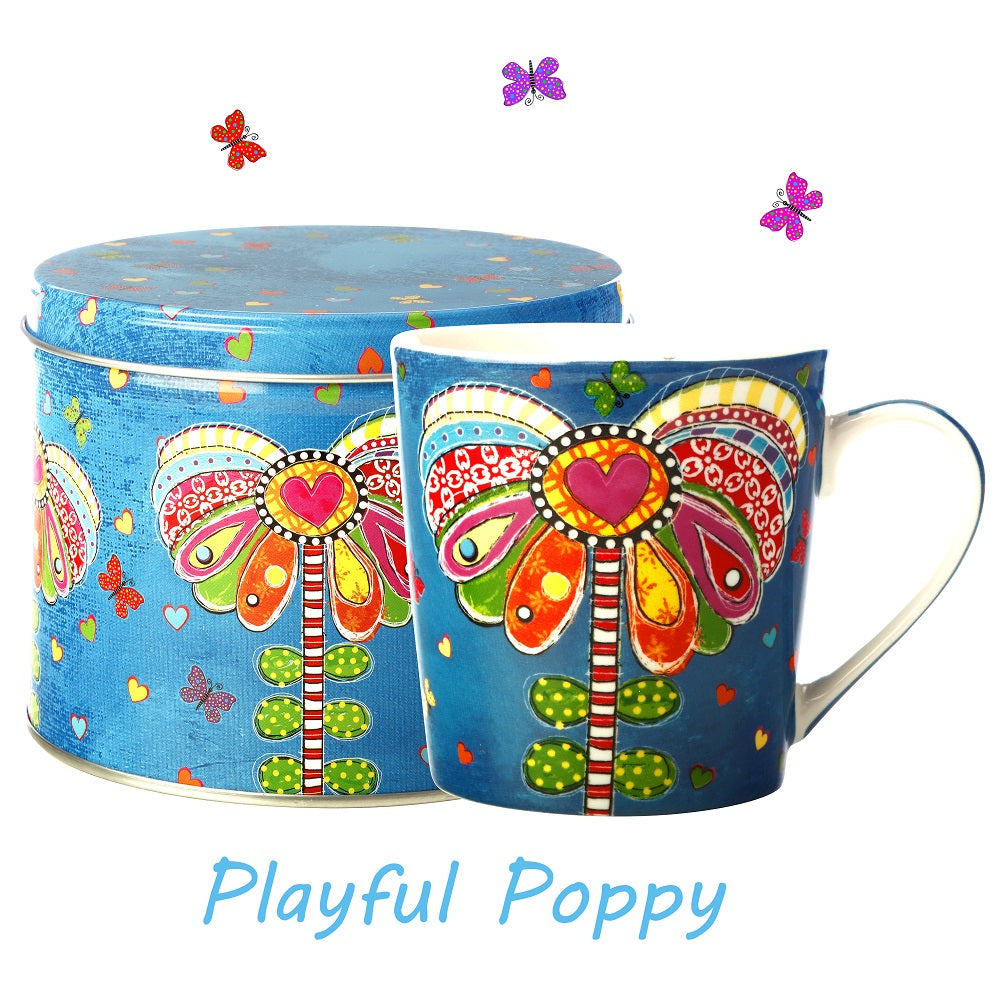 Playful Poppy Mug in a Tin