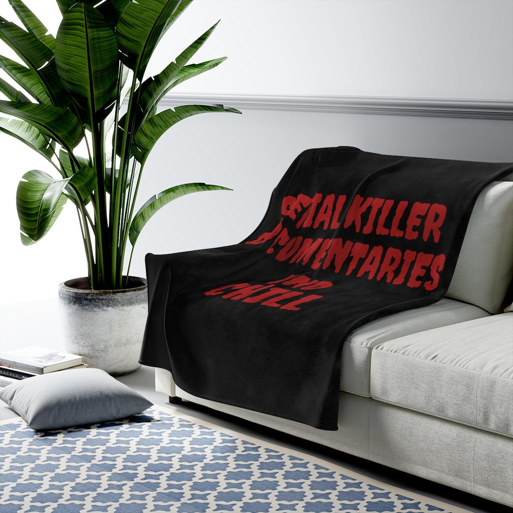 Dark Red Serial Killer Documentaries And Chill Velveteen Plush Blanket