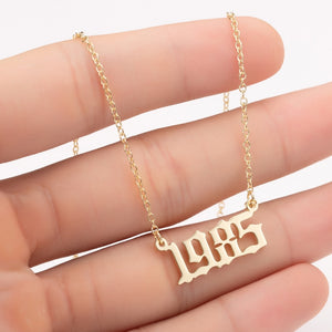 White Smoke Gold and Silver Birth Year Necklace