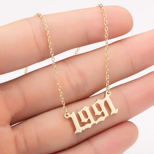 Seashell Gold and Silver Birth Year Necklace