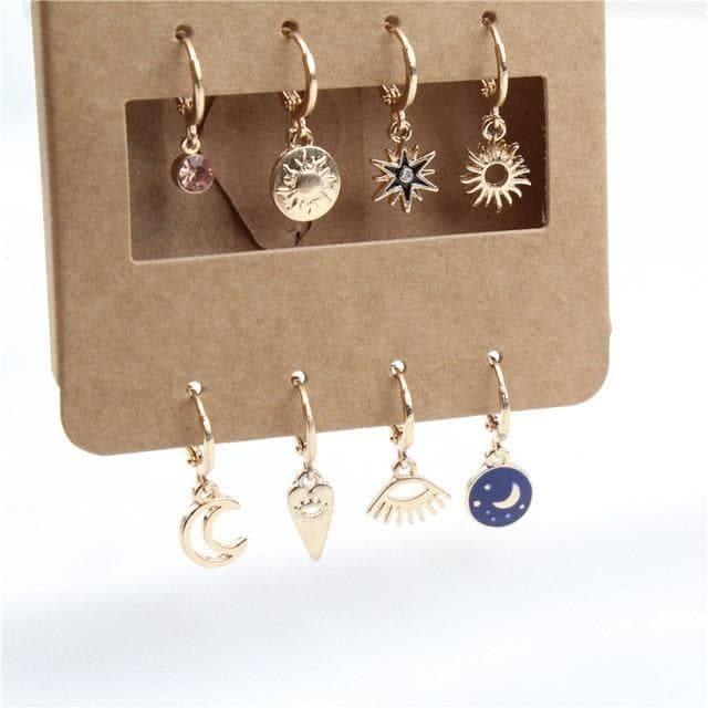 mermaid-vemon,Gold and Silver Dangle Earring Set.