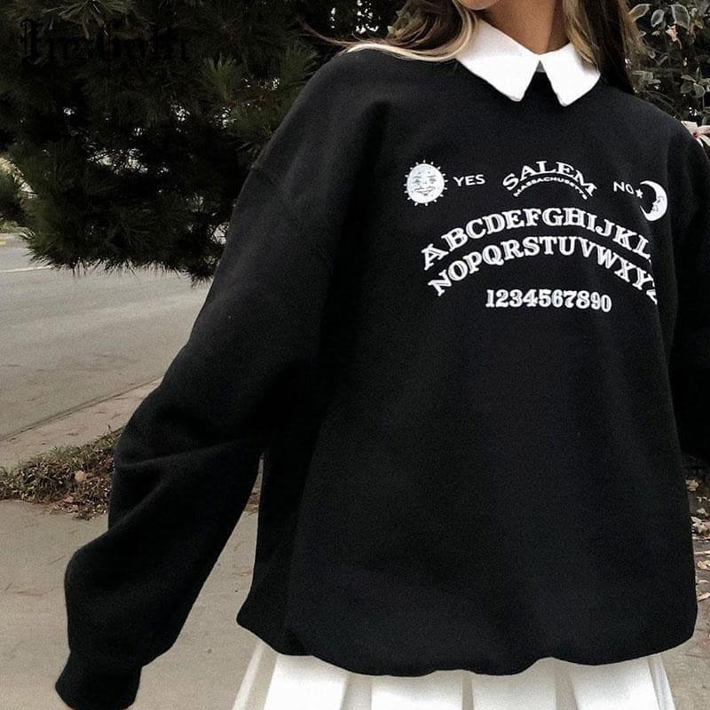 mermaid-vemon,Black Oversized Ouija Board Long Sleeve Sweater.
