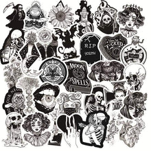 Load image into Gallery viewer, mermaid-vemon,Black & White Gothic Horror Stickers.