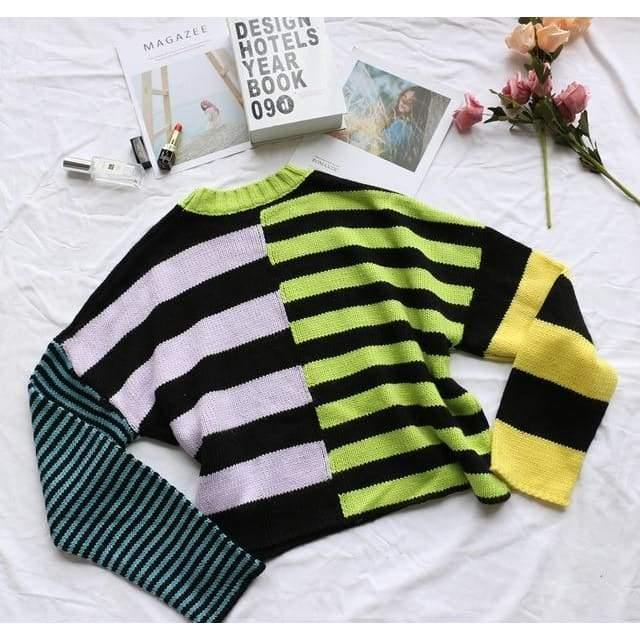 mermaid-vemon,Colorful Striped Pullover.