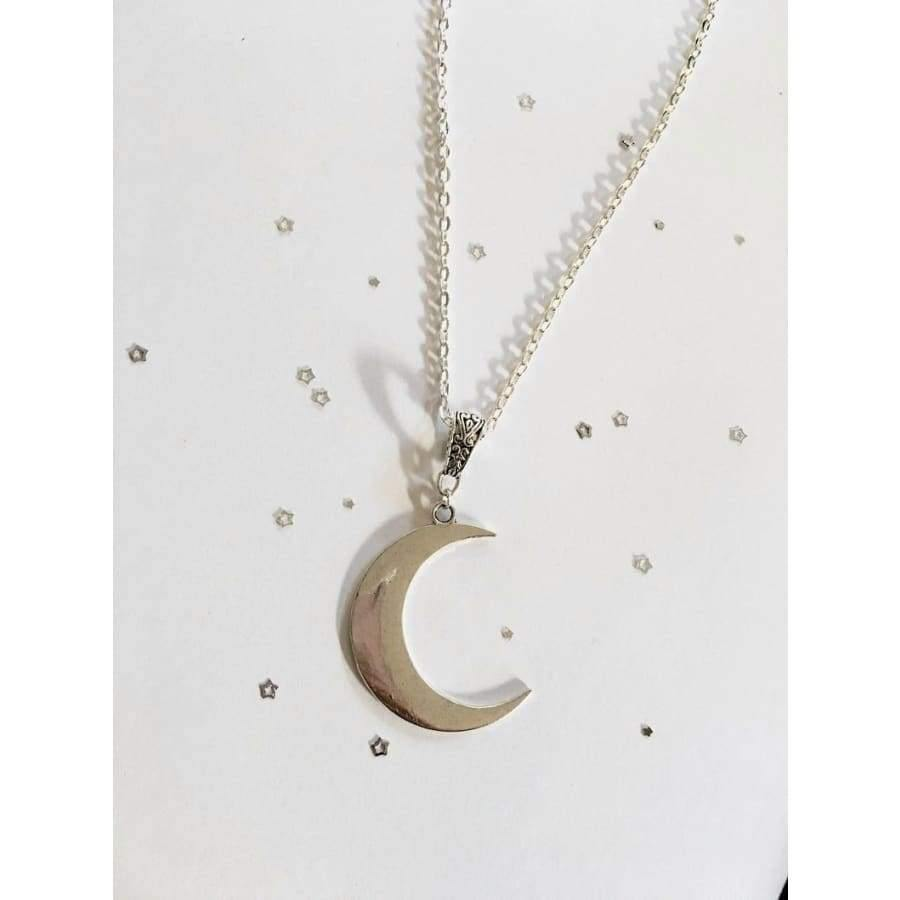 mermaid-vemon,Crescent Moon Phase Witchy Goddess Silver Necklace.