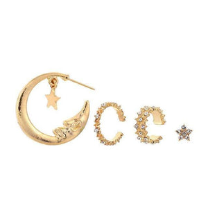 mermaid-vemon,Crescent Moon & Star Geometric Gold Hoop Earrings and Cuff Set.