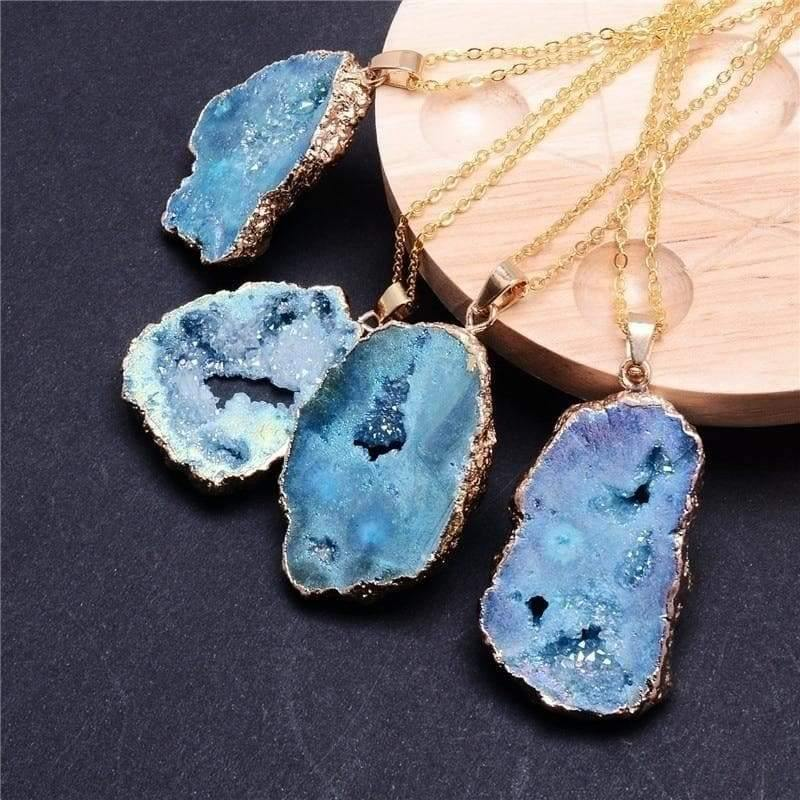 mermaid-vemon,Crystal Geode Necklace.