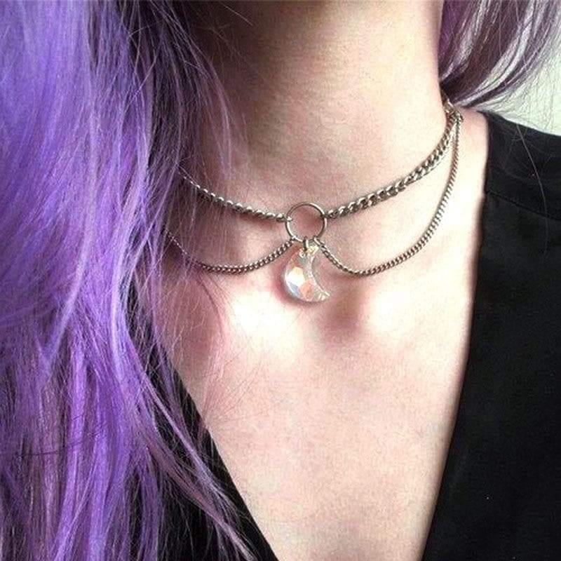 mermaid-vemon,Crystal Moon Chain Choker.