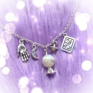 mermaid-vemon,Crystal Palm Moonstone Necklace with Palmistry Charms.