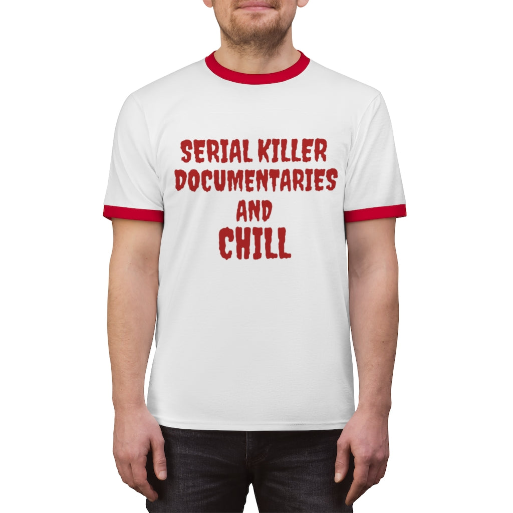 Lavender Serial Killer Documentaries And Chill 100% Cotton Ringer Tee