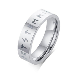 mermaid-vemon,Engraved Rune Stainless Steel Ring.