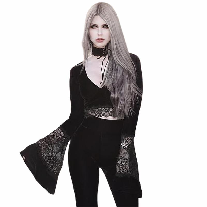 mermaid-vemon,Evanora Long Sleeve Flared Lace Top.