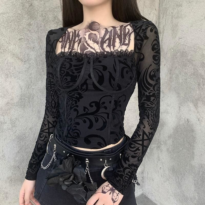 mermaid-vemon,Lace Bustier Push up Black Vintage Style Top.