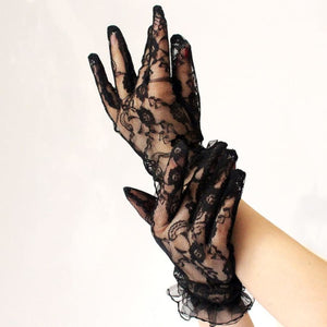 mermaid-vemon,Lace Mesh Black Driving Gloves.