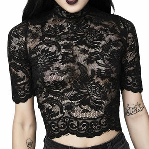 mermaid-vemon,Laced in Darkness Crop Top.