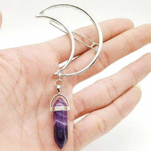mermaid-vemon,Moon Barrette With Hanging Crystal.