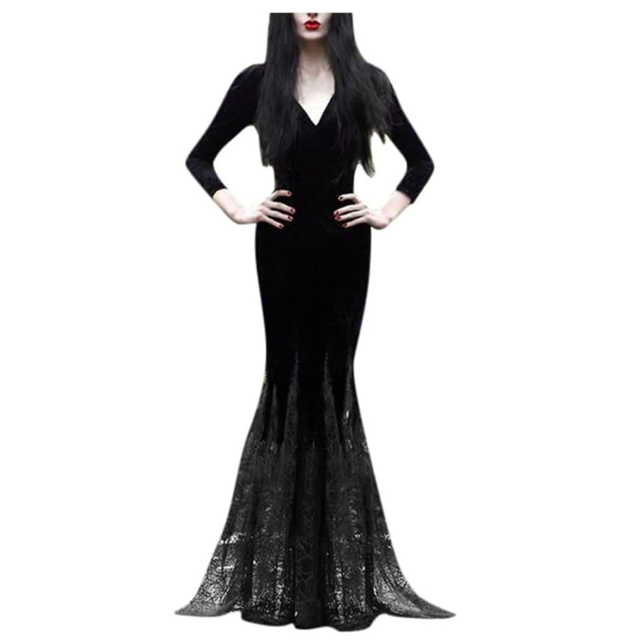 mermaid-vemon,Morticia Addams Lace Dress.