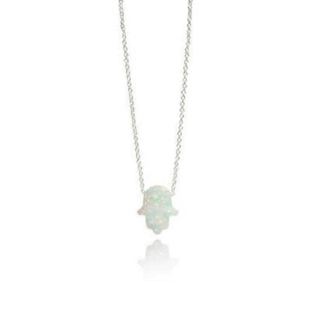 mermaid-vemon,Opal Hamsa Necklace.