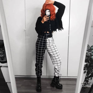 mermaid-vemon,Patchwork Black and White Pants.