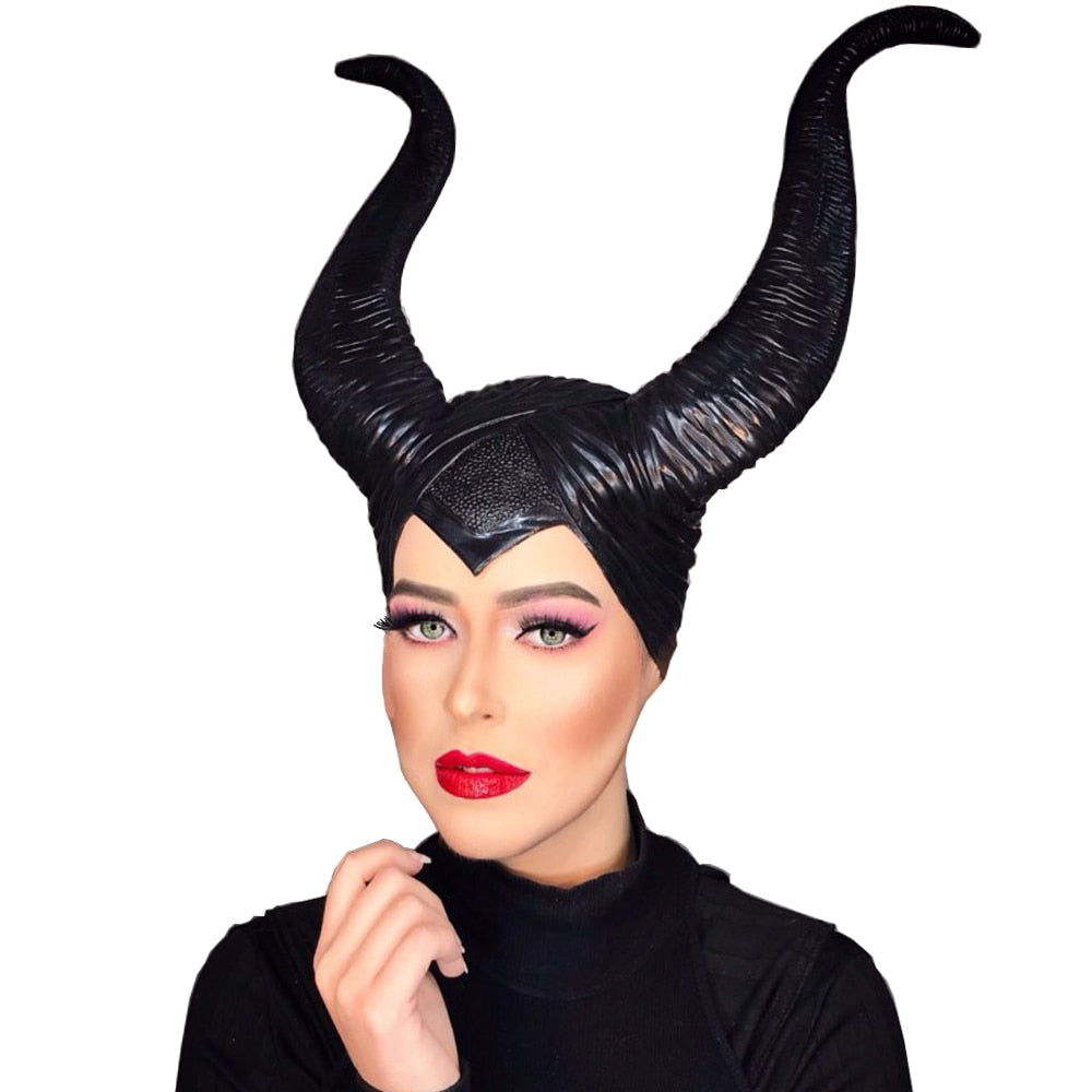 White Evil Queen Latex Maleficent Cosplay Costume Horns