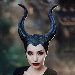 Dark Olive Green Evil Queen Latex Maleficent Cosplay Costume Horns
