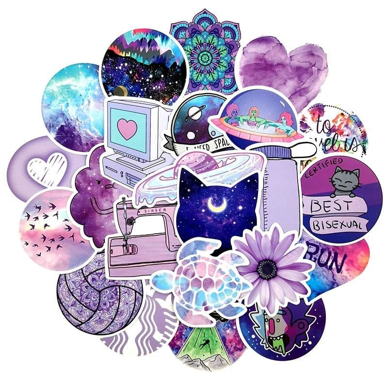 mermaid-vemon,Purple Galaxy Dream Stickers.