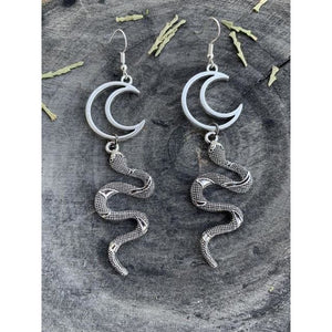 mermaid-vemon,Snake Moon Earrings.
