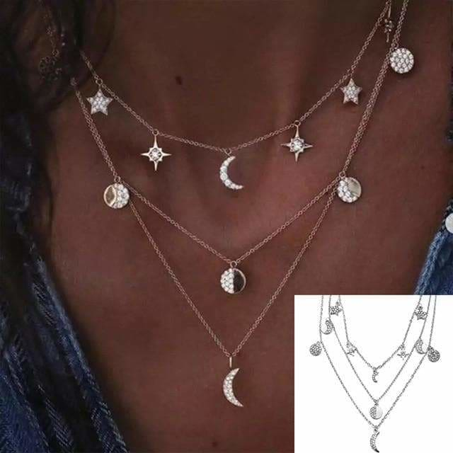 mermaid-vemon,The Moon & The Stars Necklace.